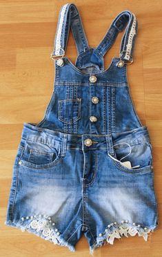 salopette jeans bambina corta short pantaloncini bretelle estate tg.8/16 anni