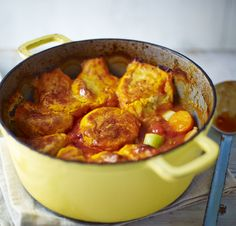 Chicken casserole with potato cobbler. If you don't have time to make the potato cobbler to top this hearty chicken stew, you could just serve it with boiled buttery potatoes Best Casserole Dish, Chicken Casserole, Casserole Dishes, Cobbler Topping, Cobbler Recipe, Bbc Good Food Recipes, Cooking Recipes, Slow Cooking, Best Casseroles