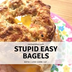 If you have missed a non eggy bread like texture while eating KETO, then the Stupid Easy Bagel will honestly change your experience! Bagel Breakfast Sandwich, Low Carb Breakfast, Low Carb Bread, Keto Bread, Bagel Bread, Lchf, Low Carb Recipes, Cooking Recipes, Free Recipes