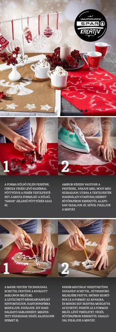 Karácsonyi asztali futó: Terítőből sohasem elég, főleg a karácsonyi vendégjárás idején. Ilyenkor jól jönnek a kézzel festett futók, amelyek hangulatossá teszik az asztalt, és védik is az alatta lévő terítőt. Elkészítésükhöz szükségünk lesz textil asztali futókra, karácsonyi sütikiszúrókra, ecsetre, radíros végű ceruzára, textilfestékre, ollóra, vasalóra, karton- és sütőpapírra. Kétféle festési technikát is bemutatunk. A szarvas sablon a képre kattintva letölthető.