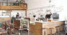 Moose and Gibson, Woolloongabba. Rustic industrial fit out. Gorgeous black La Marzocco.
