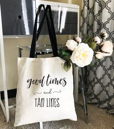 Good Times and Tan Lines Tote Bags make a great gift bag for your bridal party! Perfect for bachelorette weekend getaways or even to welcome guests to your beach wedding weekend!  Natural has black handles and distressed black text. Black Bags have metallic gold foil text. ***Details***  This listing is for 1 TOTE - printed with Good Times & Tan Lines.  Size of Bag: 15W x 16H  100% Cotton - LIGHTWEIGHT Canvas Bag - 6 oz.   LISTING IS FOR Tote Bags ONLY - NO OTHER ITEMS WILL BE SHIPPED. **...