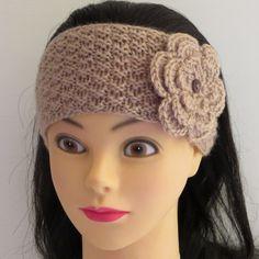 Stirnbänder - Stirnband gestrickt mit Blume - ein Designerstück von Signorina-de bei DaWanda