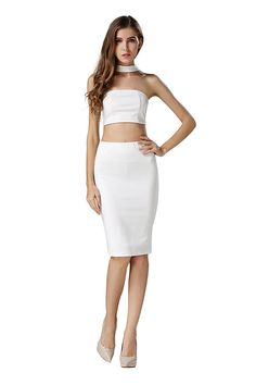 2aaeb8682cb Little Smily Women s Choker Crop Top and Midi Slit Pencil Skirt Outfit at Amazon  Women s Clothing store