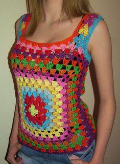 Transcendent Crochet a Solid Granny Square Ideas. Inconceivable Crochet a Solid Granny Square Ideas. Crochet Tank Tops, Crochet Summer Tops, Crochet Shirt, Crochet Girls, Crochet Woman, Free Crochet, Knit Crochet, Granny Square Crochet Pattern, Crochet Squares