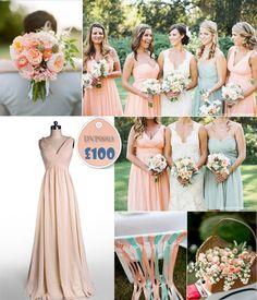 V-neck Peach Bridesmaid Dresses 2014