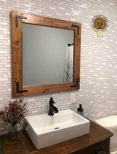 Bathroom Mirror, Wood Frame Mirror, Wall Mirror, Rustic images ideas from Home Bathroom Ideas Rustic Mirrors, Wood Framed Mirror, Bathroom Sets, Small Bathroom, Bathroom Mirrors, Master Bathroom, Basement Bathroom, Washroom, Bathroom Designs