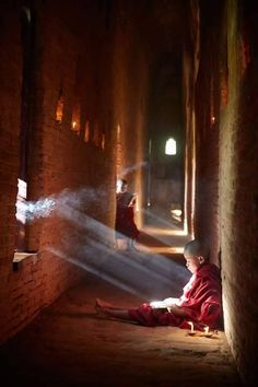 Light of a Child.Low light portrait of young novice monks at the Shwe Yan Pyay…