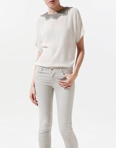 BLOUSE WITH STONES COLLAR - Shirts - Woman - ZARA United States