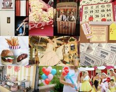 Vintage carnival wedding with ticket style invitations, outdoor games, comfort food, and of course kissing booth!