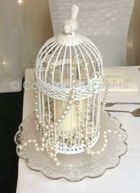 Birdcage on Vintage Cakestand with Pillar Candle & Pearls