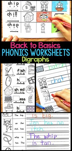 Digraph Phonics Worksheets & Activities for Elementary Students Phonics Words, Phonics Worksheets, Phonics Activities, Language Activities, Teaching Second Grade, First Grade Teachers, First Grade Reading, Kindergarten Writing Activities, Teaching Reading
