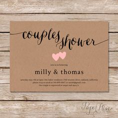 Rustic couples shower invitation / Kraft couples wedding shower invite / DIY Printable digital file