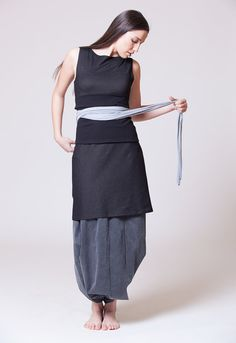 Obi Belt Wrap Belt Cloth Belt Black & Gray MB901 by MichalRomem