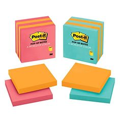 Post-it Pop-up Notes, 3 in x 3 in, Assorted Colors, 5 Pads/Pack  3 in x 3 in, Assorted Colors  Always at your fingertips and where you need them  Life gets easier with these handy notes  Colorful Post-it® Notes inspired by colorful cities  5 Pads/Pack, 100 Sheets/Pad