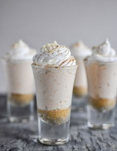 Think sweet potato pie, but cheesecake. We are starting to think it's totally normal to put potatoes inside desserts. Get these recipe of these no-bake sweet potato pie cheesecakes: Shot Glass Desserts, Köstliche Desserts, Delicious Desserts, Dessert Recipes, Yummy Food, Sweet Desserts, Desserts In Shot Glasses, Yummy Yummy, Sweet Potato Cheesecake