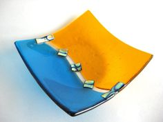 Turquoise Glass Bowl Fused Orange Blue Dichroic Art Glass Shallow Abstract…