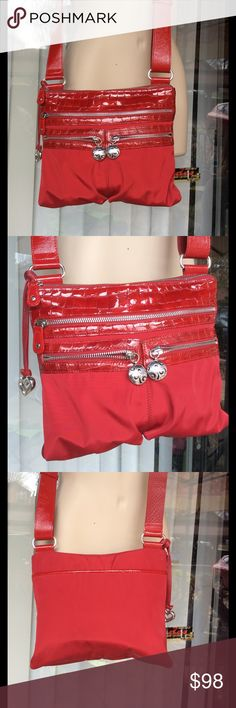 Brighton red nylon and patent leather bag Cross body,used few times Brighton Bags Crossbody Bags