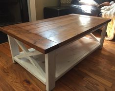 ***Shipping is NOT FREE*** ***Please contact us before ordering for shipping cost*** Made to order farmhouse coffee table. Solid wood table with shelf. Dimensions are Contact for other options of dimensions (price may change).