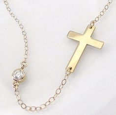 14K Gold Sideways Cross Necklace With CZ - As Seen On Kelly Ripa - Yellow Or White Gold