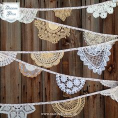Vintage Crochet Doily Bunting Garland (Mustardseed) Handmade Crochet in Mustard Yellow, Beige, White and Cream by Daisies Blue - 4 metres