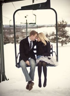 Love on the slopes #chairlift #engagement