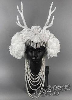 White Antler Headdre