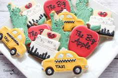 New York Themed Decorated Cookies, NYC Cookies, I love NY, Checkered Cab, The Big Apple, New York gifts, Decorated Cookies, New York by Bakinginheels on Etsy https://www.etsy.com/listing/451680754/new-york-themed-decorated-cookies-nyc