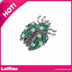 [ $30 OFF ] Antique Silver Tone Emerald Colored Rhinestones Ladybug Beetle Insect Brooch Pin