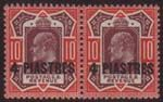 BRITISH LEVANT -   TURKISH 1911-13 4p on 10d, SG 31b, NHM horiz pair