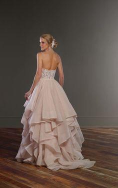Britt + Stevie Pink and White Romantic Wedding Dress by Martina Liana
