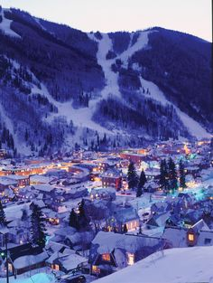 Dusk settles on the charming ski town of Telluride, Colorado