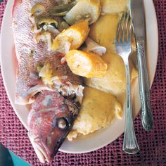 I don't truly love fungi, but I appreciated Saveur sharing our culinary traditions in the VI! Boiled Fish with Onion Sauce and Fungi Recipe - Saveur.com