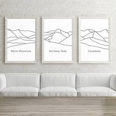 Set of 3 Large Wall Art Colorado Rocky Mountain National