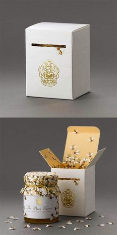 :: Alexandra Proaño - Green Pear Diaries ::: Packaging creativo II: Cuando un… Food Packaging Design, Packaging Design Inspiration, Brand Packaging, Branding Design, Honey Bottles, Honey Jars, Honey Logo, Honey Packaging, Clever Packaging