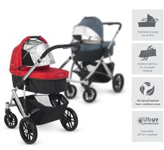 Uppababy Vista A personal favorite... a bassinet, stroller seat, and rumbleseat attachment for a double stroller conversion, all in one sleek design. Take it through sand, snow, and sidewalks... definitely a go-to stroller.