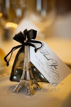 Paris French Inspired #weddingfavors http://favorcouture.theaspenshops.com/product/evening-in-paris-eiffel-tower-silverfinish.html