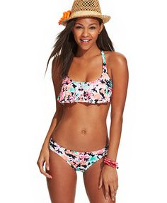 43792f5054396 Hobie Floral-Print Flounce Bikini Top & Hipster Bikini Bottom & Reviews -  Swimwear - Women - Macy's