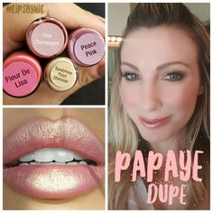 lipstick dupe using LipSense! 1 layer Fleur de Lisa, 1 layer Peach Pink, 1 layer Pink Champagne, and a bit of Sandstone Pearl Simmer Shadowsense topped with Glossy Gloss