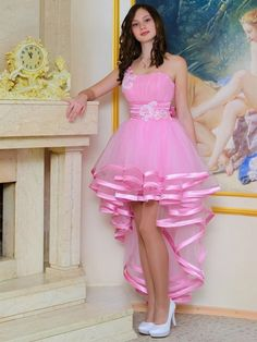 New Style A-line One Shoulder Tulle Asymmetrical Sequins High Low Prom Dresses
