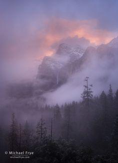Misty sunset over Bridalveil Fall, Yosemite NP, CA, USA.  Michael Frye.