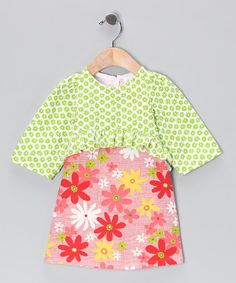 Take a look at this Pink & Green Floral Layered Dress - Infant by CyBaby on #zulily today!