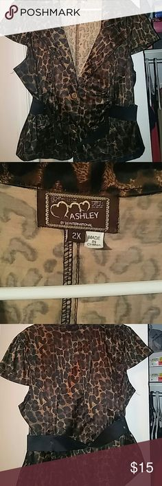 Ashley Stewart Top Very cute and stylish. Has a belt to go with it. Can be worn with jeans or dress pants. Good condition. Its just been hanging in my closet. Ashley Stewart Tops Button Down Shirts