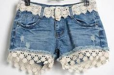Denim and Lace-going to do this to my shorts. - Denim and Lace-going to do this to my shorts. Denim and Lace-going to do this to my shorts. Artisanats Denim, Lace Denim Shorts, Denim And Lace, Shorts Diy, Jean Diy, Diy Vetement, Mode Jeans, Denim Ideas, Denim Crafts