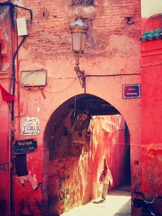 Old archway in the souks of Marrakesh http://www.whenevermarrakech.com/what-to-do/ http://www.marrakechrougehostels.com/welcome/ http://www.thistimeinmarrakech.com/what-to-visit/