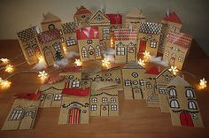 Advent calendar village, houses, city handmade paper bags to feel - Advent calendar Advent Calenders, Diy Advent Calendar, Christmas Holidays, Christmas Crafts, Christmas Decorations, Diy Paper, Paper Crafts, Advent House, Gift Wrapping Techniques