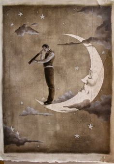 """""""The Astronomer"""" byShannon Stamey in her October Illustrations etsy shop.  I'm OBSESSED."""