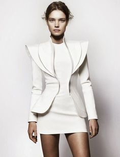 Cool Chic Sexy Work Inspired Outfit All White Everything Monochrome White Mini Dress And Alternative Sharp Shouldered Jacket