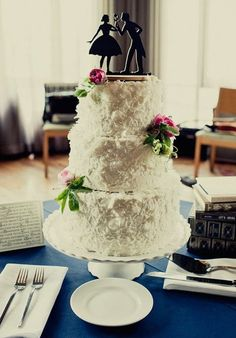 Cute White Coconut Wedding Cake with Silhouette Cake Topper