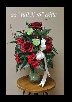 Grave Vase Flowers, Memorail Flower, Grave Decorations, #everythingelse #religious @EtsyMktgTool #gravevaseflowers #memorailflower Grave Flowers, Cemetery Flowers, Silk Flowers, Flower Vases, Flower Arrangements, Cemetary Decorations, Cemetery Vases, Red Hydrangea, Memorial Flowers